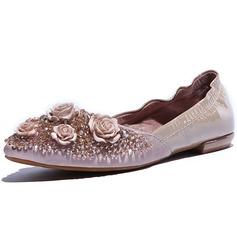 Vrai cuir Talon plat Chaussures plates Bout fermé avec Faux diamant Fleur chaussures