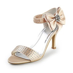 Women's Satin Stiletto Heel Peep Toe Sandals With Bowknot Rhinestone