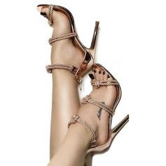Women's Leatherette Stiletto Heel Sandals Pumps Peep Toe With Zipper Braided Strap shoes
