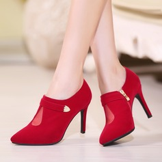 Women's Suede Stiletto Heel Pumps Closed Toe Ankle Boots With Sequin Zipper shoes