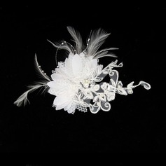 Prächtig Feder/Lace Kopfschmuck/Kämme und Haarspangen mit Venezianischen Perle