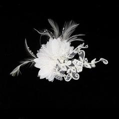 Gorgeous Fjäder/Spets Fascinators/Kammar & Barrettes med Venetianska Pärla