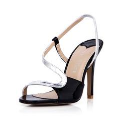 Leatherette Stiletto Heel Sandals Pumps Peep Toe Slingbacks shoes