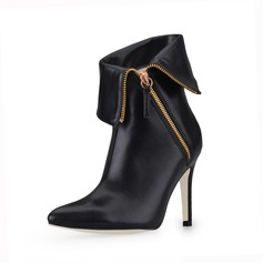 Leatherette Stiletto Heel Closed Toe Ankle Boots With Chain shoes
