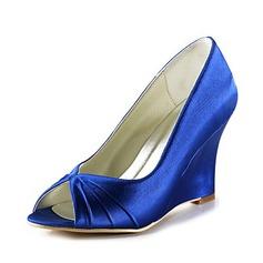 Women's Satin Wedge Heel Peep Toe Sandals