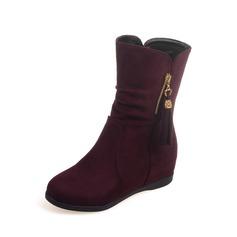 Women's Suede Flat Heel Mid-Calf Boots shoes