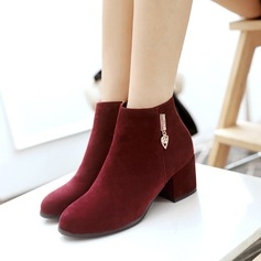 Women's Suede Chunky Heel Boots Ankle Boots With Zipper Others shoes
