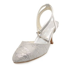 Women's Satin Spool Heel Closed Toe Pumps Slingbacks With Stitching Lace