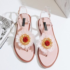 Women's Real Leather Flat Heel Peep Toe Sandals Beach Wedding Shoes With Flower
