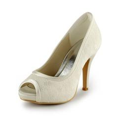 Women's Lace Satin Stiletto Heel Peep Toe Platform Sandals