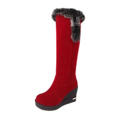 Suede Wedge Heel Knee High Boots Snow Boots With Fur shoes