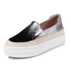Femmes Similicuir Talon plat Plateforme Bout fermé chaussures