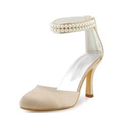 De mujer Satén Tacón stilettos Cerrados Salón con Perlas de imitación