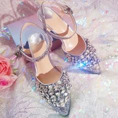 Women's Sparkling Glitter Stiletto Heel Peep Toe Sandals Beach Wedding Shoes With Rhinestone