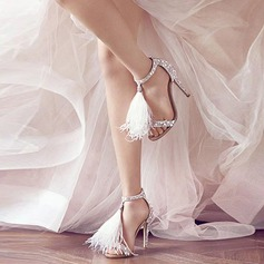Women's Suede Stiletto Heel Pumps Sandals With Tassel