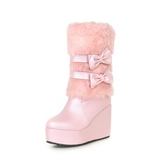 Women's Leatherette Closed Toe Wedges Mid-Calf Boots shoes