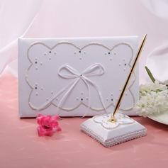 Elegant Faux-Perlen/Bänder Gästebuch & Schreibset