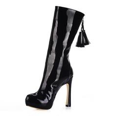 Lackleder Stämmiger Absatz Plateauschuh Stiefel-wadenlang mit Quaste Schuhe