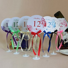 Personalized Flower Design Paper Table Number Cards With Holder With Ribbons (Set of 10)
