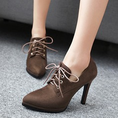 Women's Suede Stiletto Heel Pumps Closed Toe Ankle Boots With Lace-up shoes