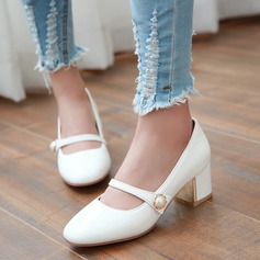 Women's Patent Leather Chunky Heel Pumps Closed Toe With Imitation Pearl shoes