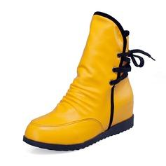 Konstläder Kilklack Halva Vaden Stövlar skor