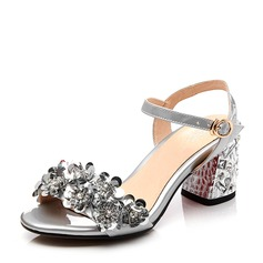 Women's Patent Leather Real Leather Chunky Heel Sandals Beach Wedding Shoes With Buckle Rhinestone