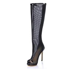 Kvinnor Lackskinn Stilettklack Peep Toe Knäkickkängor med Ihåliga ut skor