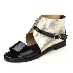 Similicuir Talon plat Sandales Chaussures plates avec Boucle chaussures