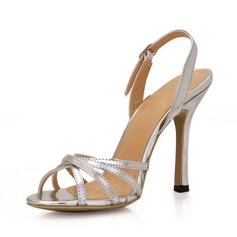 Women's Patent Leather Stiletto Heel Sandals Slingbacks With Buckle shoes