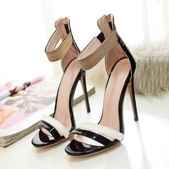 Women's Patent Leather Stiletto Heel Sandals Pumps Peep Toe With Rhinestone Zipper shoes