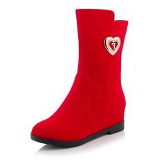 Women's Suede Wedge Heel Boots Mid-Calf Boots shoes
