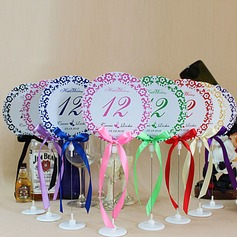 Personalized Floral Design Paper Table Number Cards With Holder With Ribbons (Set of 10)