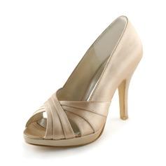 Women's Satin Cone Heel Peep Toe Platform Sandals