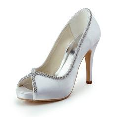 Women's Satin Cone Heel Peep Toe Platform Sandals With Beading