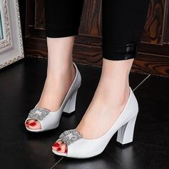Women's Leatherette Chunky Heel Sandals Pumps Peep Toe With Rhinestone shoes