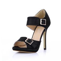 Silk Like Satin Stiletto Heel Sandals Platform Peep Toe With Buckle shoes