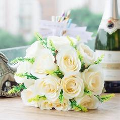 Magnifique/Blanc Rond Satiné Bouquets de mariée