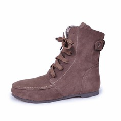 Women's Suede Flat Heel Boots Ankle Boots With Lace-up shoes