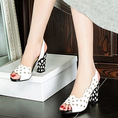 Women's Leatherette Chunky Heel Sandals Pumps Peep Toe Slingbacks Slippers With Hollow-out Jewelry Heel shoes