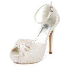 Women's Lace Satin Stiletto Heel Platform Sandals With Bowknot Buckle