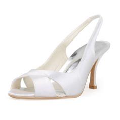 Women's Satin Stiletto Heel Peep Toe Sandals Slingbacks