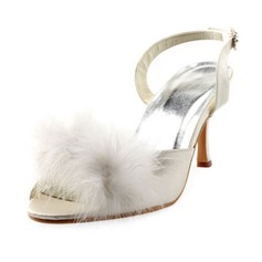 Women's Satin Stiletto Heel Peep Toe Sandals Slingbacks With Buckle Feather