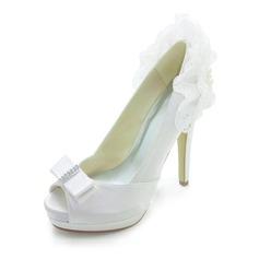 Women's Satin Stiletto Heel Peep Toe Platform Pumps Sandals With Bowknot Imitation Pearl Ruffles