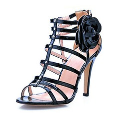 Patent Leather Stiletto Heel Sandals Slingbacks With Flower shoes