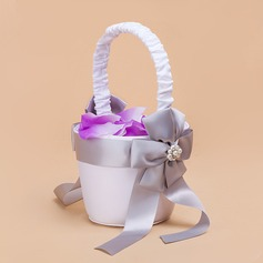 Nice Flower Basket in Satin With Faux Pearl/Sash