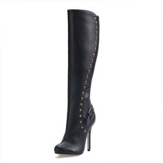 Leatherette Stiletto Heel Closed Toe Knee High Boots With Rivet shoes