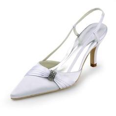 Women's Satin Stiletto Heel Closed Toe Pumps Slingbacks With Rhinestone