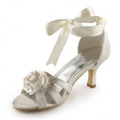 De mujer Satén Tacón Stilettos Sandalias con Flor del Satén
