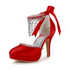 Women's Satin Cone Heel Closed Toe Platform Pumps With Beading Rhinestone